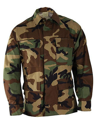 BDU JACKET/ SHIRT-Woodland Camo-MILITARY ISSUE- NEW - RIPSTOP-SIZE SMALL REGULAR