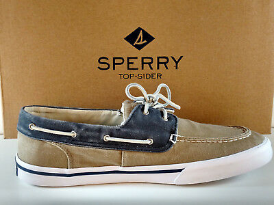 Sperry Top Sider Bahama Ii Men's Washed Canvas Sneaker Taupe/navy New In Box