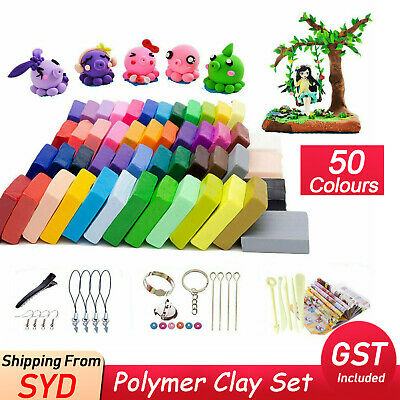 50 Colours Oven Bake Polymer Clay 1kg + 5 Tool Block Modelling Sculpey Toys Set