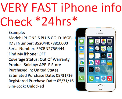 VERY FAST INFO Check iphone/ipad/ipod Serial Number  Status/Carrier/Icloud/FMI