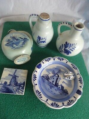 Delfts & Delft Blue selection mini bottles tray magnet 5 mainly vintage items