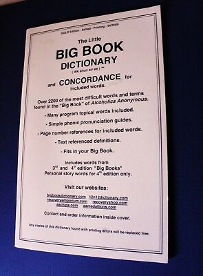 Alcoholics Anonymous Big Book Dictionary and Concordance AA