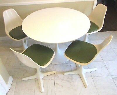 Vtg Orig MCM Mid Century Modern BURKE White Tulip Table & 4 Helicopter Chairs