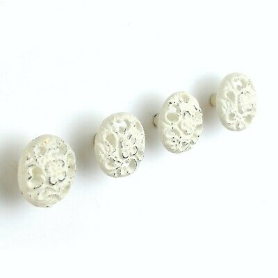 Vintage Set of 4 cast iron painted round Drawer Pull Knob button rustic