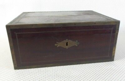 Great Antique Victorian Portable Travel Box made from Wood with Brass Inlays