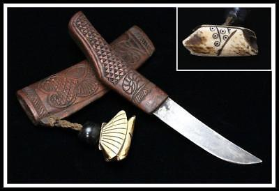 AIN11 Japanese Antique Ainu Makiri ( short sword ) w/ Deerbone Netsuke / Japan