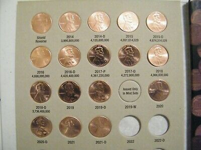 2014-15-16-17-2018-2019 PD Lincoln Shield Cents w/ Harris Book w/ 12 BU Pennies