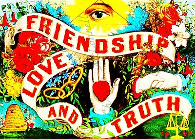 Antique Style Friendship Love Truth Poster DIY High Res INSTANT DIGITAL DOWNLOAD