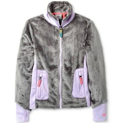Girls' Furry Warm Fleece Jacket Gray/Lavender C9 by Champion Size M (7-8) NWT
