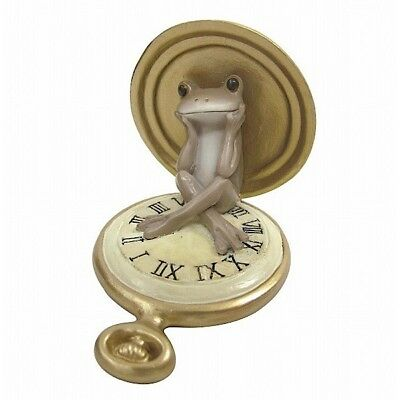 Copeau Frog on Antique Pocket Watch Mini Figure Figurine Japan Toy Cute Tracking