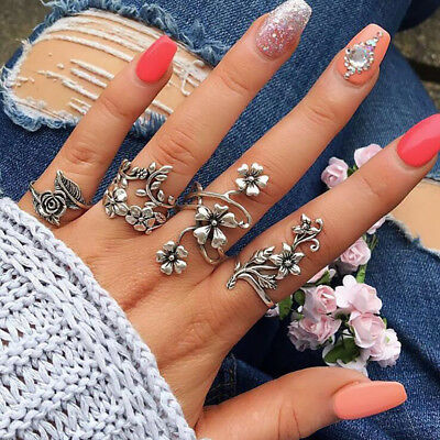 4Pcs/Set Punk Flowers Leaves Hollow Vintage Ancient Silver Ring Set For Women