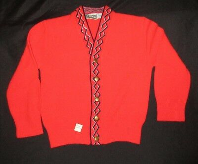 VTG 50's 3 Turbo Orlon Acrylic Nasons Blue Red Cardigan Sweater Button NEW!