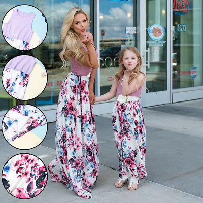 Fashion Women Mother Daughter Matching Dresses Girl Dress Summer Clothes Sets