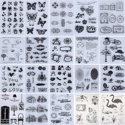 Various Transparent Silicone Clear Rubber Stamp Sheet Cling Scrapbooking DIY