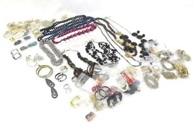 Over 3 Lbs Pounds Large Lot Vintage Costume Jewelry Clip On Earrings Necklaces