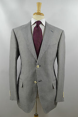 Pal Zileri Concept Linen & Cotton Sport Coat Navy Houndstooth 44