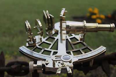 """9"""" Nautical Sextant Antique vintage Heavy Brass Navigation Sextant With Wood Box"""