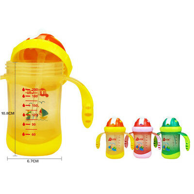 MagiDeal Baby Kids Drinking Water Straw Handle Feeding Bottle Sippy Cup