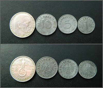 German 2 Reichsmark 1937-1939 Silver coin with 44 Eagle /& Swastika