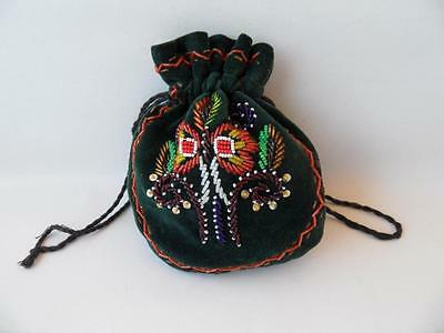 vintage Ladies Green Velvet & hand Beaded evening bag pouch Hand Made