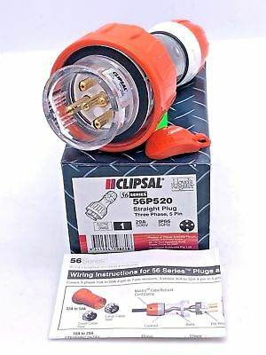 Clipsal 56P520 Straight Plug 20A 5 Round Pin 500V AC 3 Phase IP66 50Hz 20 Amp