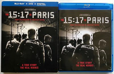 The 15:17 To Paris Blu Ray Dvd 2 Disc Set + Slipcover Sleeve Free World Shipping