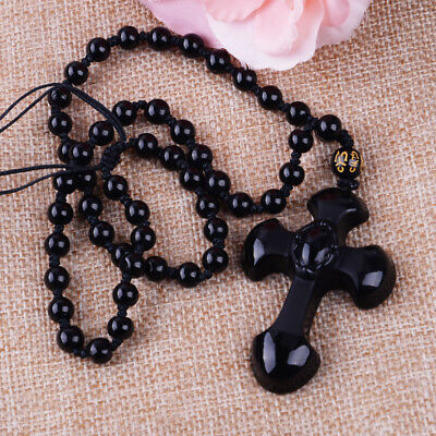 Natural Black Obsidian Carved Cross Lucky Pendants Beads Necklace Charm