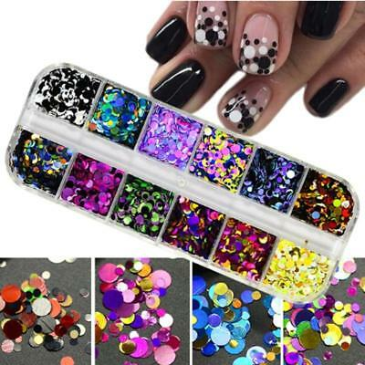 Ultrathin Nail Art Sequins UV Gel Colorful Shiny Round Stickers Decoration CB