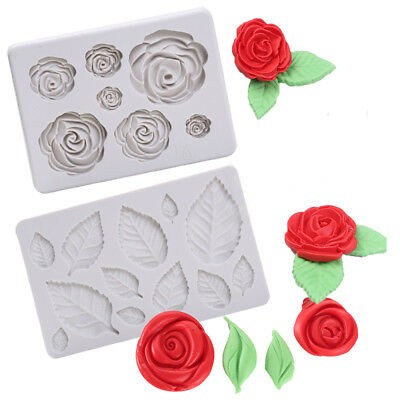 3D DIY Rose Flower Leaf Silicone Mold Cake Chocolate Decorate Fondant Sugarcraft