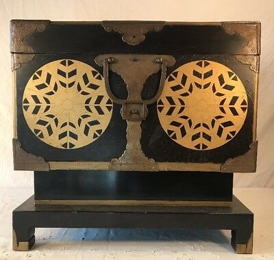 Antique Chinese Black Laquor And Brass Cabinet
