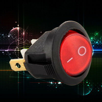 Waterproof Red Rocker Switch Round Toggle SPST ON/OFF LED Light Snap In 12V