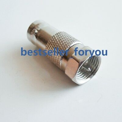 1X Brass BNC Female Jack to F Male Plug Straight RF Connector Adapter Converter