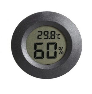 Black Digital Cigar Humidor Hygrometer Thermometer Temperature Round YA9