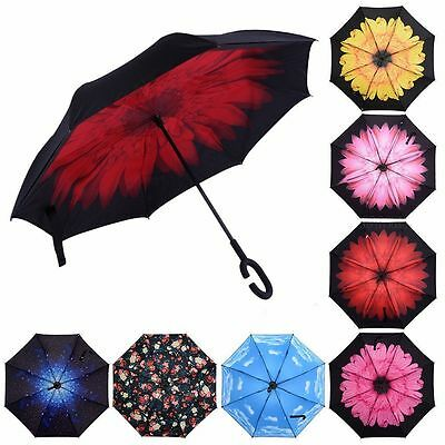 Folding Upside Down Reverse Umbrella C-Handle Double Layer Inside-Out 13Color W