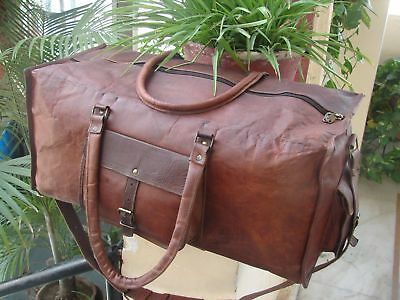 New Men's Real Leather Large Duffle Travel Gym Weekend Overnight Luggage Bag