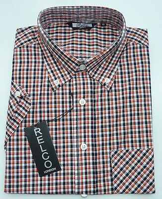 9f3895d06 Relco Mens Black Orange Tartan Check Short Sleeve Shirt Button Down Collar  Mod