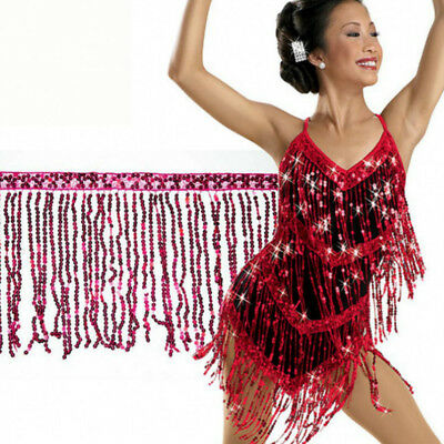 "6.5Yard Sequin Tassel Trim 15cm6"" Luxury Fringe Fringing Latin Costume Furniture"