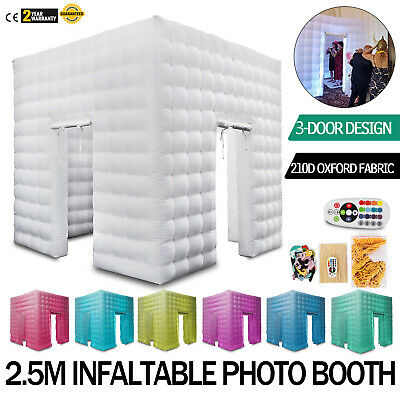 3 Doors 2.5M Inflatable LED Air Pump Photo Booth Tent Oxford Fabric 7 Colors