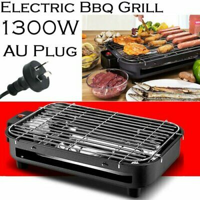 Portable Electric BBQ Grill 1300W Non-stick Surface Griddle Smokeless Hot Plate