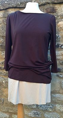 Formes Maternity Top Double Layer Dark Brown and Beige Top Size 12 Medium Size 3