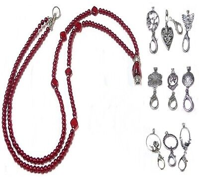 Beaded Lanyard security work id badge holder Red Pearl Silver Choose a charm
