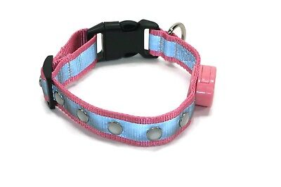 NEW Wags Forever 5 LED Jewel Light Up DOG Pet COLLAR Flashing Bright Safety PINK