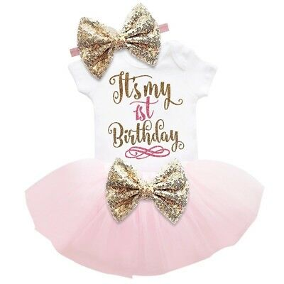 Baby Girl First 1st Birthday Dress 3Pcs Cake Smash Pink Photoshoot Outfit Tutu