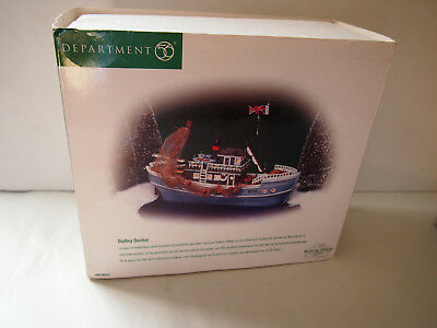 Dept 56 Dickens Village Dudley Docker 58353 Fishing Boat With Box & Light