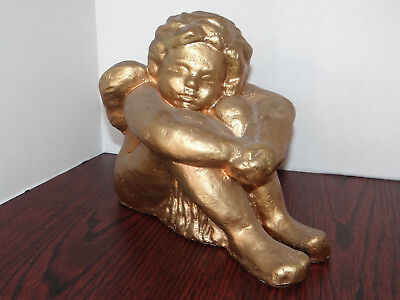 """Gold Angel Sitting Plastic Cherub Statue with wings 8"""" tall 10"""" long weigh 2 lbs"""
