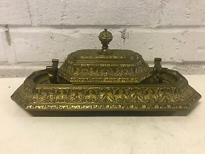 Antique Likely French Bronze Pen Rest & Paperweight w/ Patterned Decoration