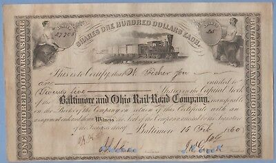 1860 Stock Certificate Baltimore & Ohio Railway #27708 Fisher & Sons 25 shares