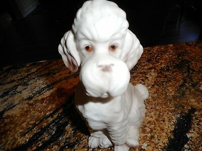 "Large Vintage Collectible Porcelain Poodle Dog Figurine Statue Poodle 7"" Cute!"