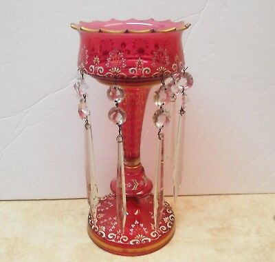 Antique Cranberry Glass Lustre  Luster Enameled With Gold Accents 8 Prisms