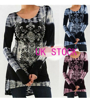 UK Women Vintage Printed Tunic Tops Plus Casual Loose Tops Blouse Shirt T-Shirt